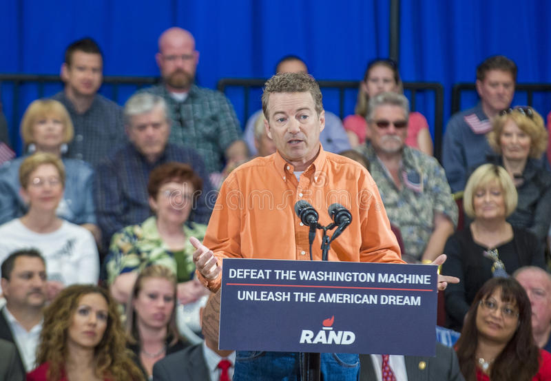 Rand Paul Campaigns på Las Vegas arkivfoton