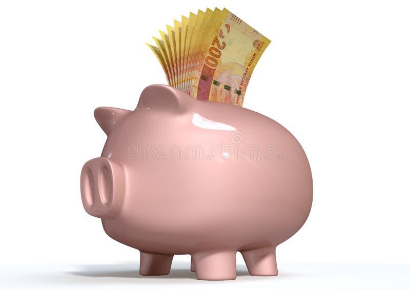 Rand sudafricani di risparmio del porcellino salvadanaio illustrazione vettoriale