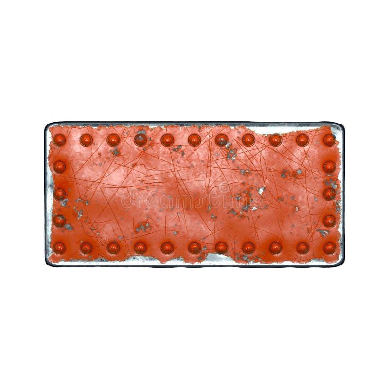 Rand van metaal met in rood geverfde klinknagels in de vorm van een rechthoek in het midden op witte achtergrond 3d stock afbeelding