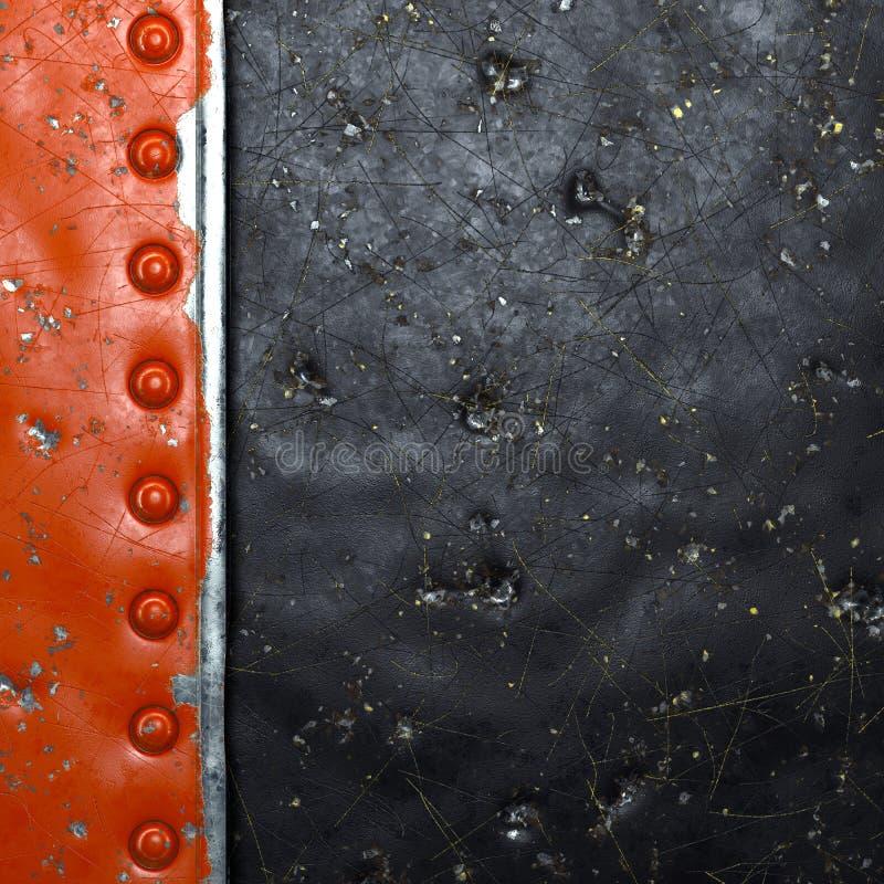 Rand van metaal met in rood geverfde klinknagels in de vorm van een rechthoek op de achtergrond van zwart metaal 3d stock fotografie