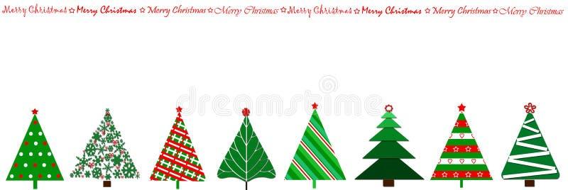 Randauslegung mit Weihnachtsbäumen in einer Reihe vektor abbildung