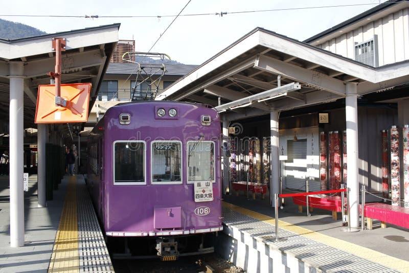 Randen Arashiyama linia, Omiya stacja, Shimogyo-ku, Kyoto, Japonia fotografia royalty free