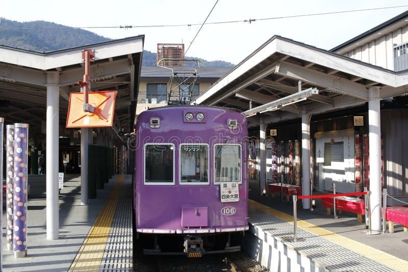 Randen Arashiyama linia, Omiya stacja, Shimogyo-ku, Kyoto, Japonia obraz royalty free