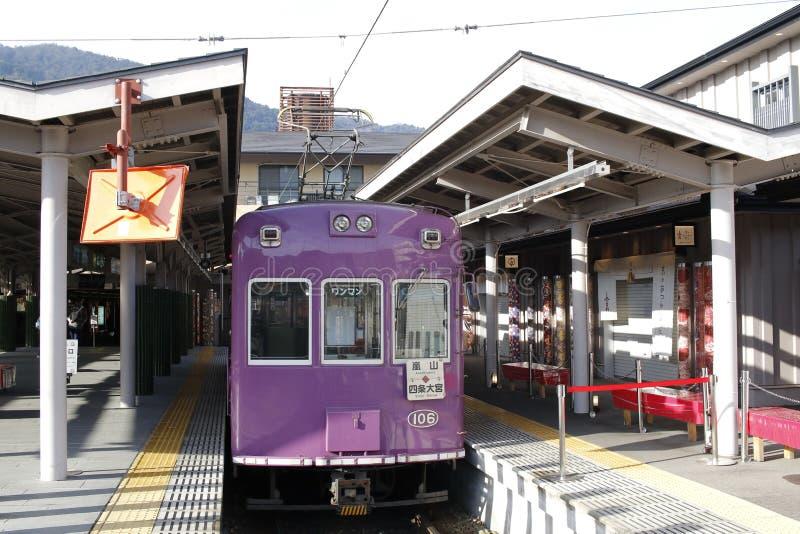 Randen Arashiyama linje, Shijo-Omiya station, Shimogyo-ku, Kyoto, Japan arkivbild