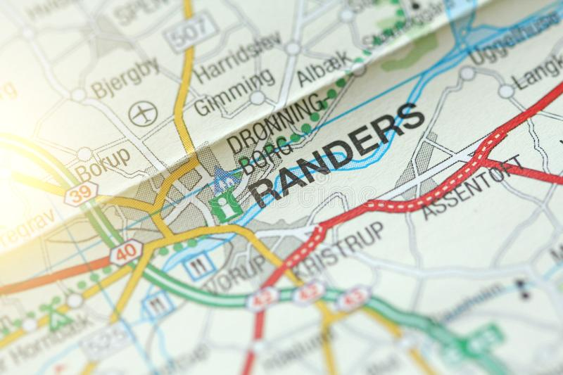 Randers. Kongeriget Danmark. A paper map and roads on the map stock image