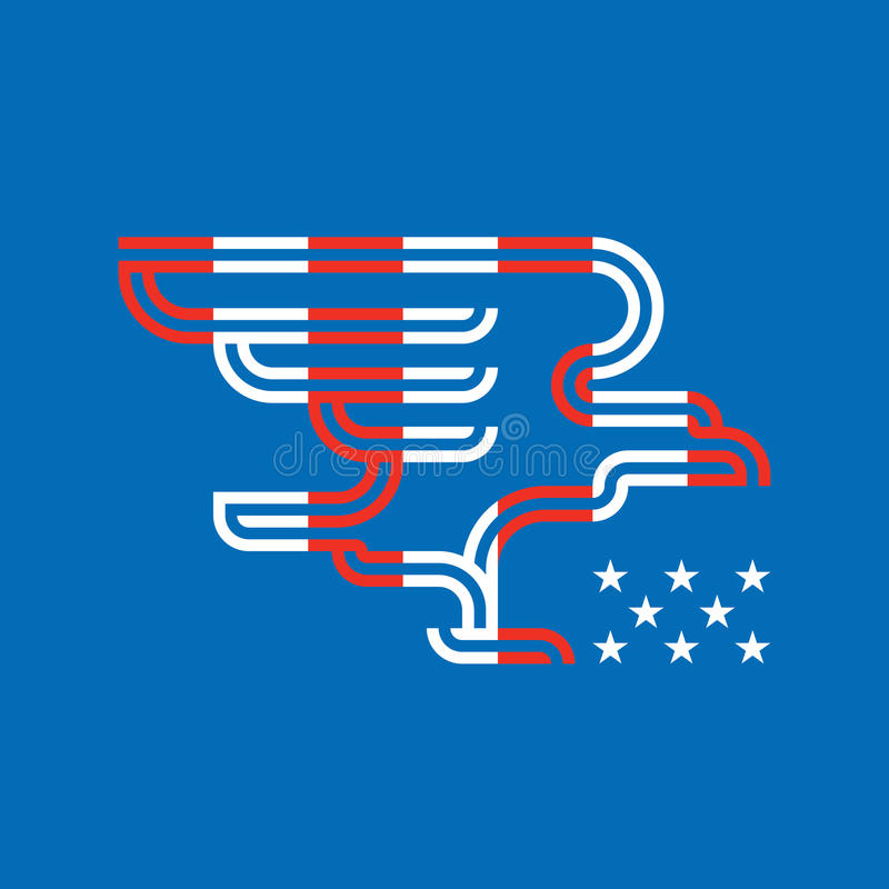 Randig örn med amerikanska nationella heraldiska symboler royaltyfri illustrationer