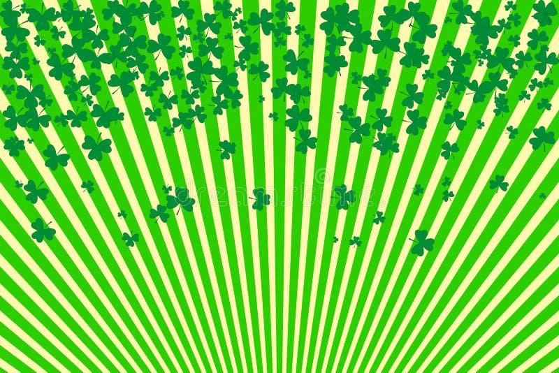 Randig bakgrund och treklövergräns Vektorillustration för helgonet Patrick Day Greeting Card vektor illustrationer