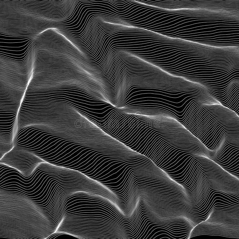 Randig gråtonbakgrund för vektor Abstrakt linje vågor Svängning för solid våg Skraj krullade linjer Elegant krabbt royaltyfri illustrationer