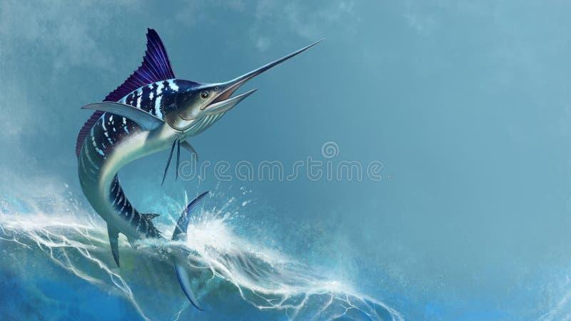 Randig marlin på havet, fisksvärd royaltyfri fotografi