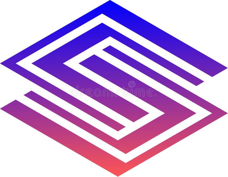 Randig och kall logo för vektor s arkivbild