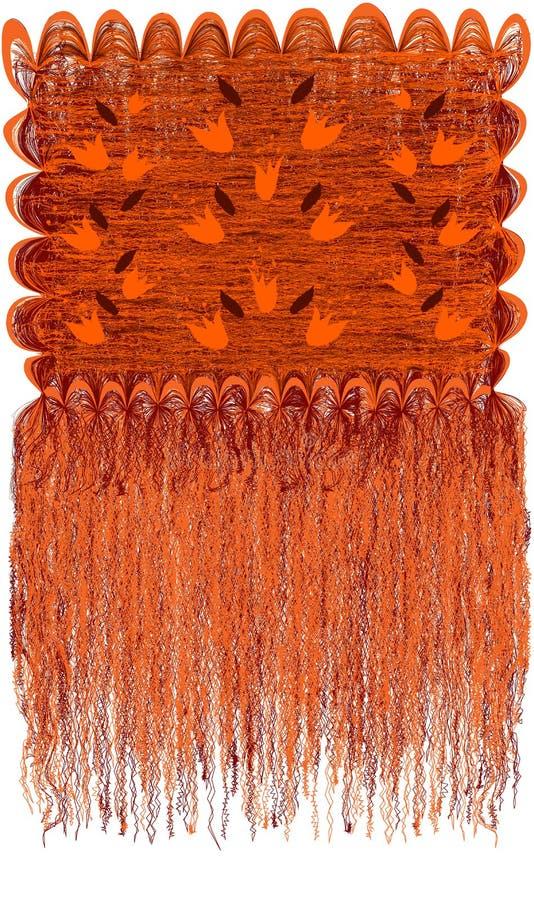 Randig och krabb gobeläng för dekorativ modern grunge med den blom- modellen med abstrakta klockor och lång frans i apelsin, brun royaltyfri illustrationer