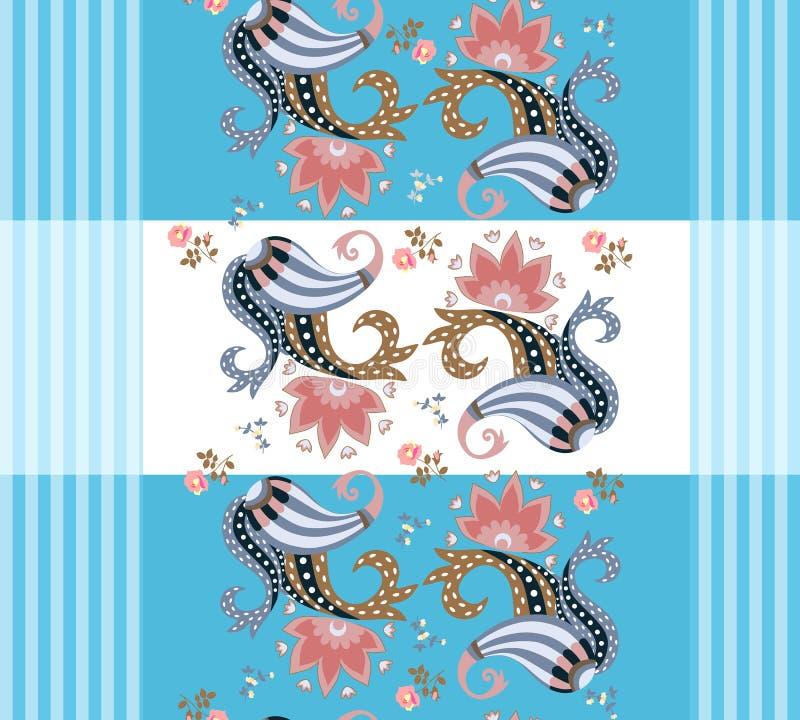 Randig paisley blom- modell Härlig vektorillustration Indier perser, turkiska bevekelsegrunder royaltyfri illustrationer