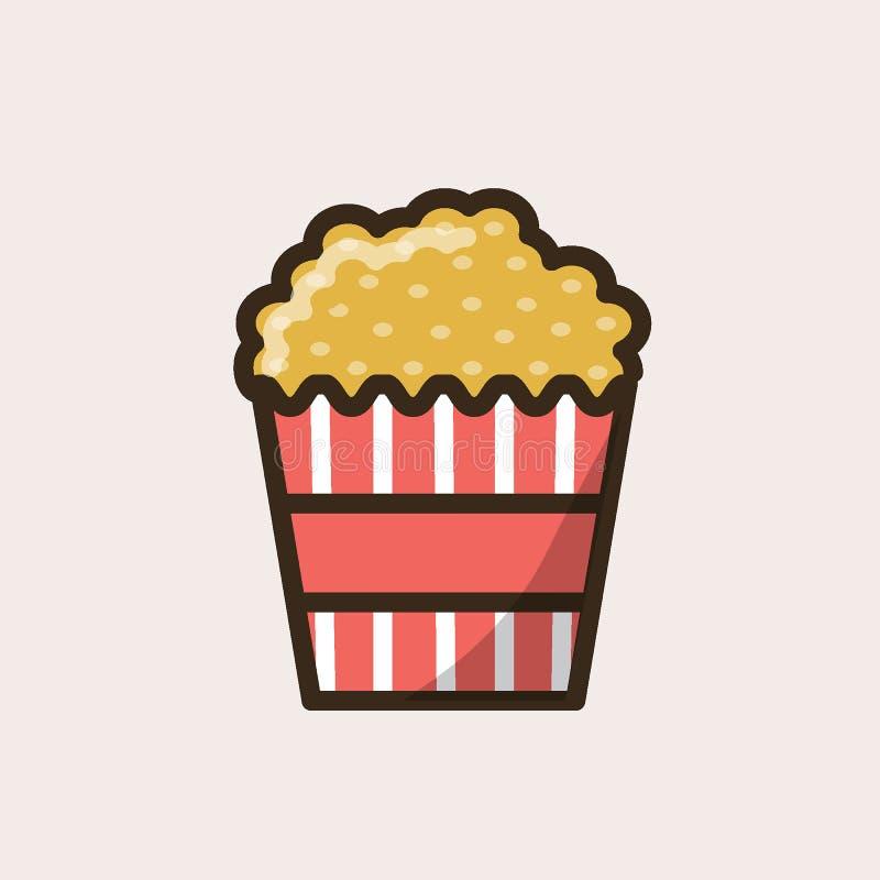 Randig papppacke med popcorn vektor illustrationer