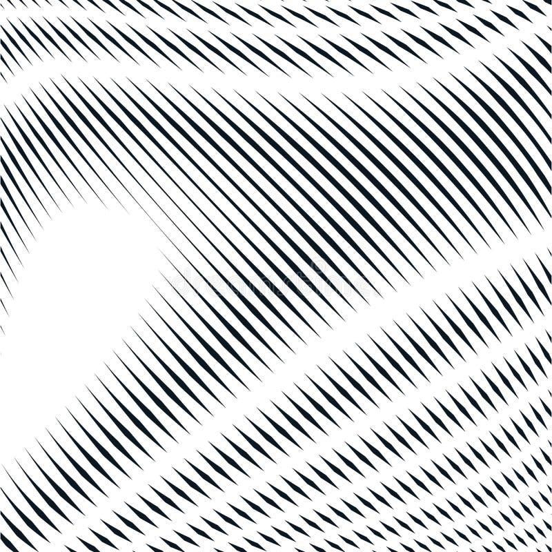Randig psykedelisk bakgrund med svartvita moirelinjer royaltyfri illustrationer