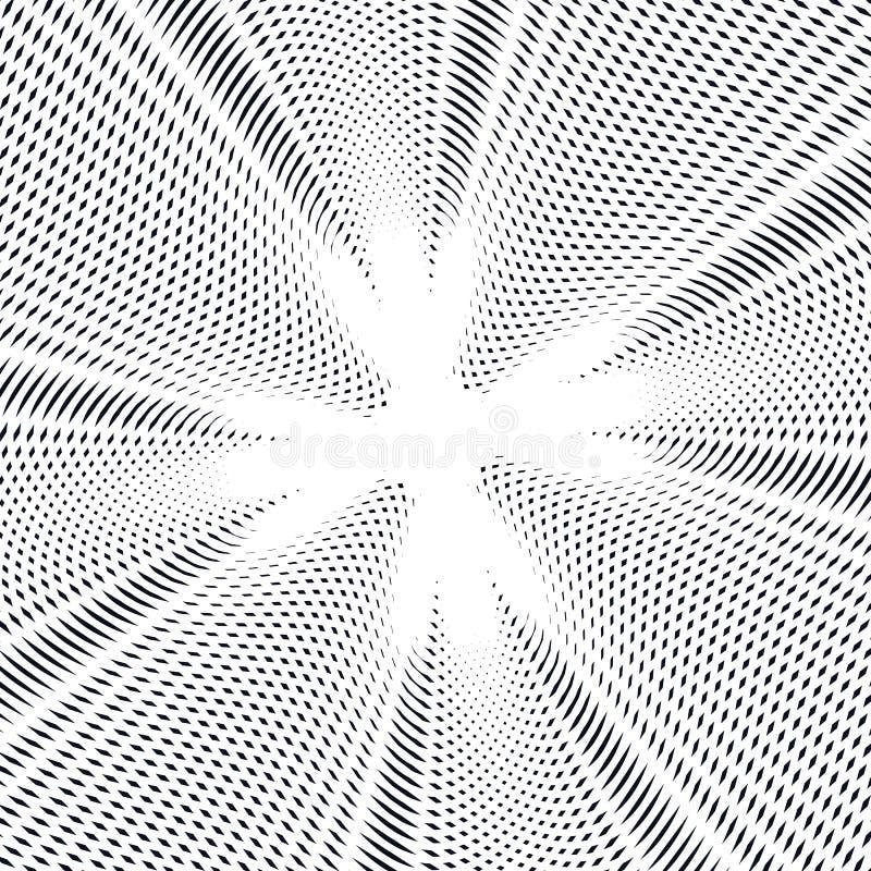 Randig psykedelisk bakgrund med svartvita moirelinjer vektor illustrationer
