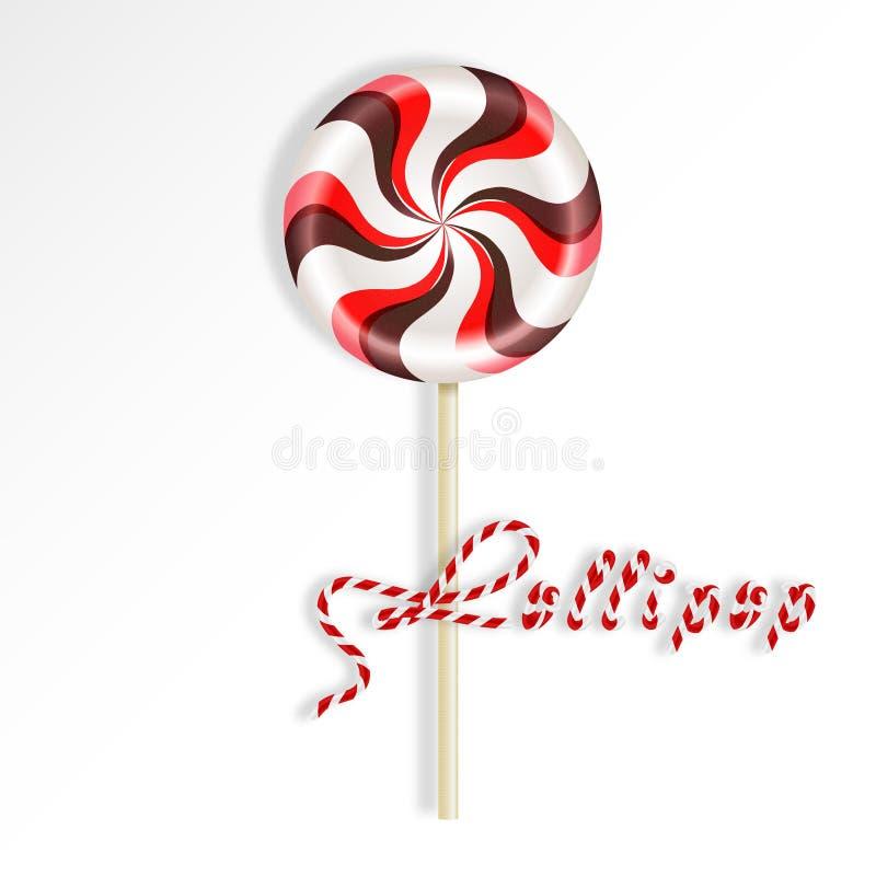 Randig röd brun klubba för ljus runda Bär- och chokladgodis på en pinne Realistisk vektorillustration som isoleras på vitbac vektor illustrationer