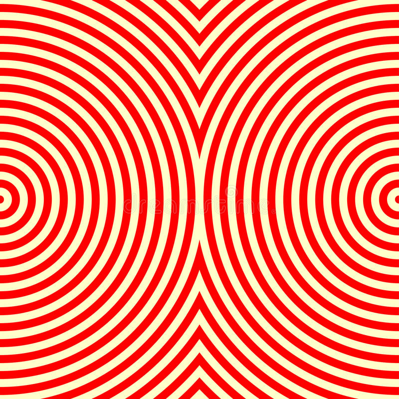 Randig röd vit sömlös modell Abstrakt bakgrund för textur för repetitionrundavågor vektor illustrationer