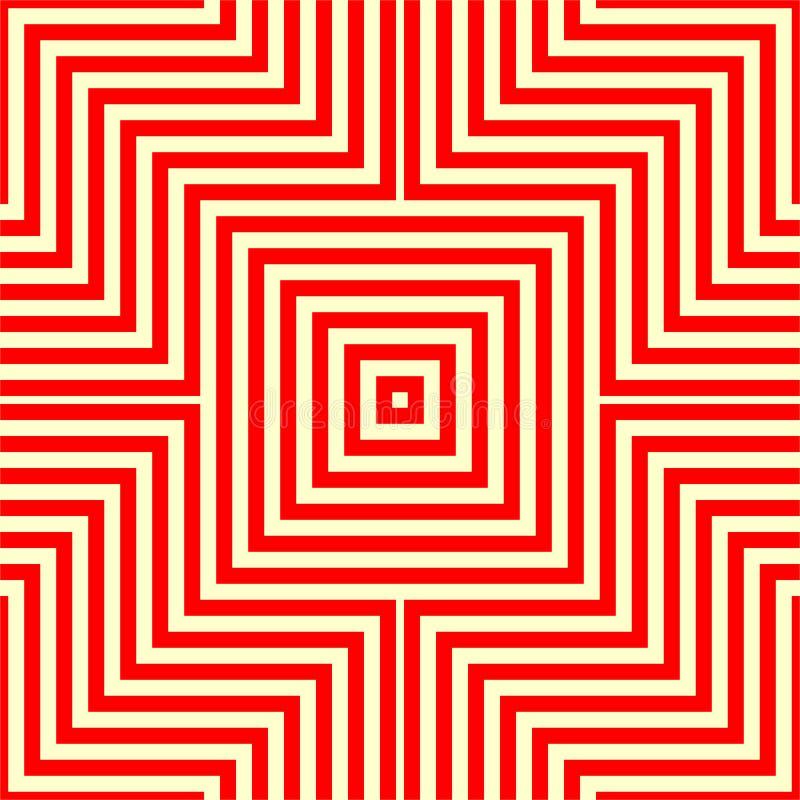 Randig röd vit sömlös modell Vinkelformiga linjer texturbakgrund för abstrakt repetition vektor illustrationer
