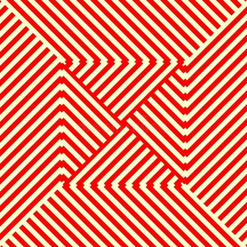Randig röd vit sömlös modell Vinkelformiga linjer texturbakgrund för abstrakt repetition royaltyfri illustrationer