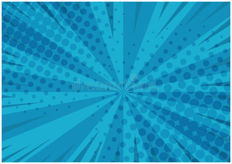 Randig retro komisk bakgrund för abstrakta blått arkivbild