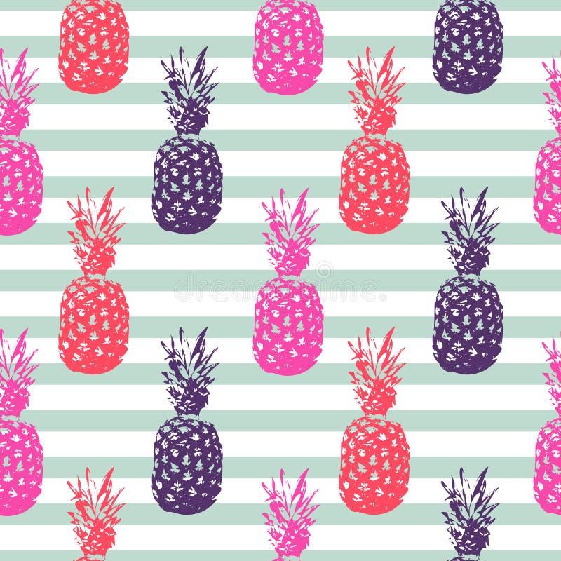 Randig sömlös modell för ananassommarfrukt royaltyfri illustrationer