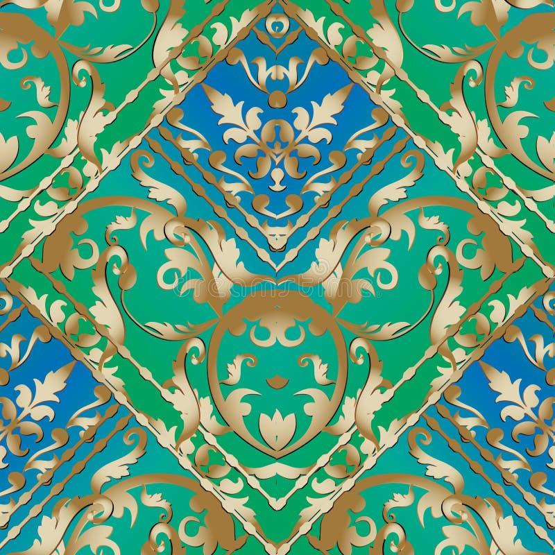 Randig sömlös modell för guld- barock Blom- vec för blått och för gräsplan vektor illustrationer