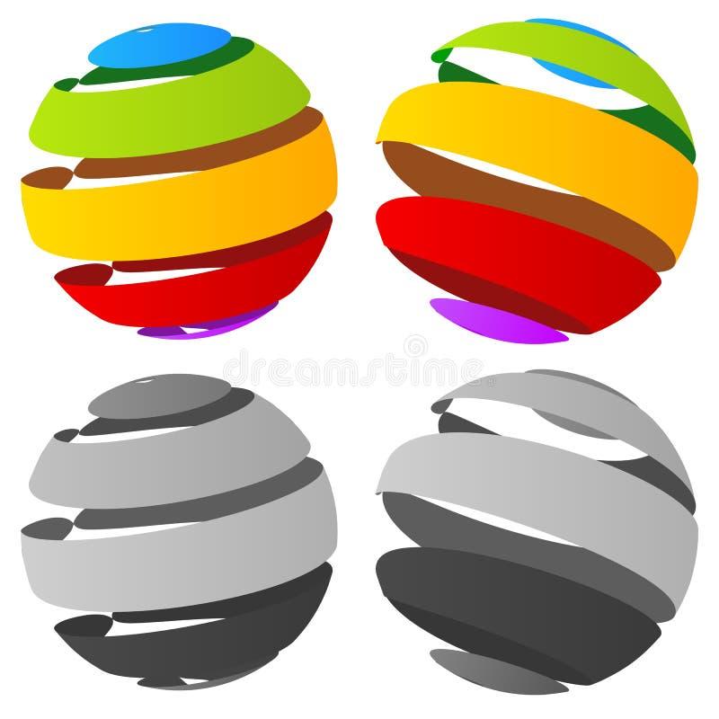 randig sfär för abstrakt begrepp 3d i version fyra vektor illustrationer