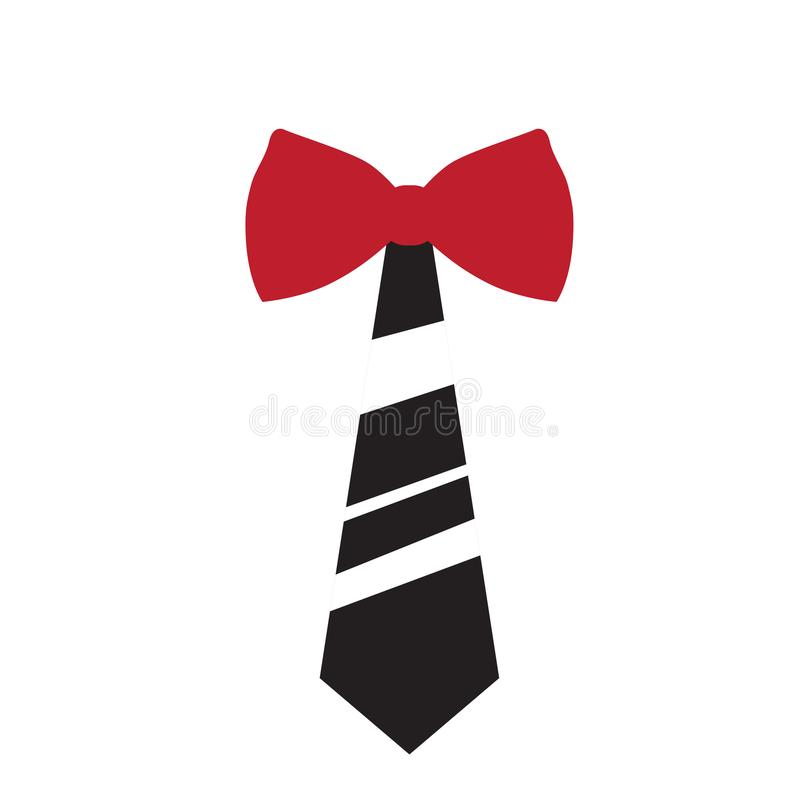 Randig slips med bowtiesymbolen vektor illustrationer