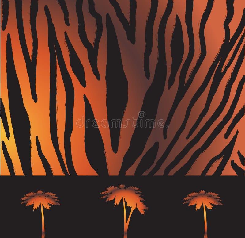 Randig tigermodell vektor illustrationer
