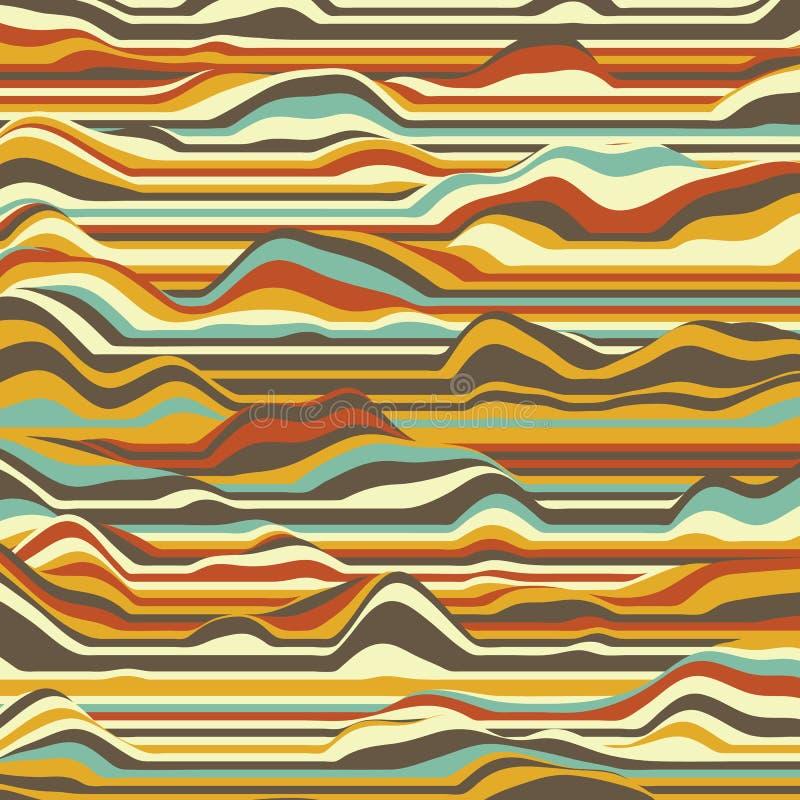 randig vektor för bakgrund abstrakt färgwaves Svängning för solid våg Skraj krullade linjer Elegant krabb textur stock illustrationer