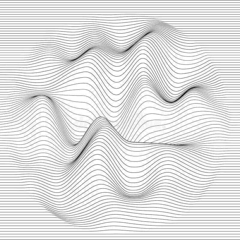 randig vektor för bakgrund Abstrakt linje vågor Svängning för solid våg Skraj krullade linjer Elegant krabb textur vektor illustrationer
