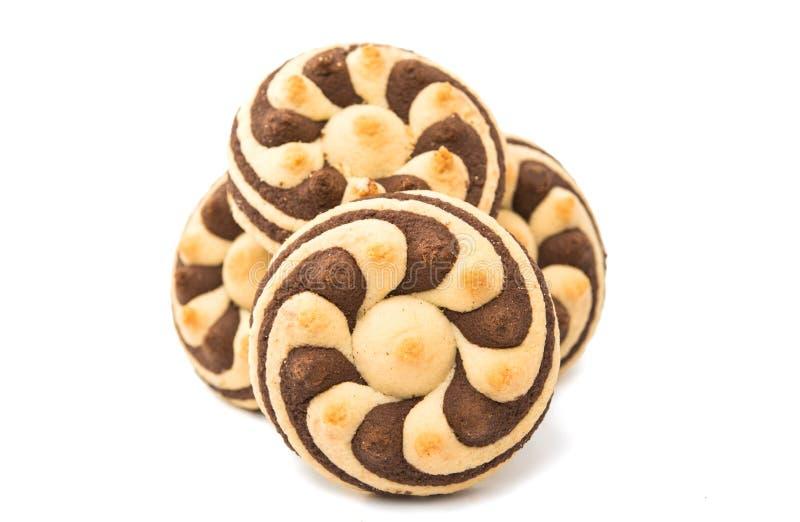 Randiga kakor för läcker choklad arkivfoton