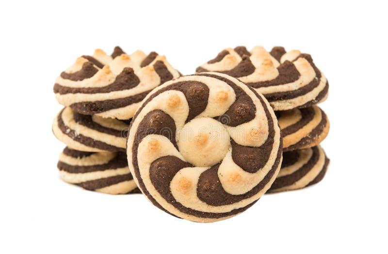 Randiga kakor för läcker choklad royaltyfria bilder