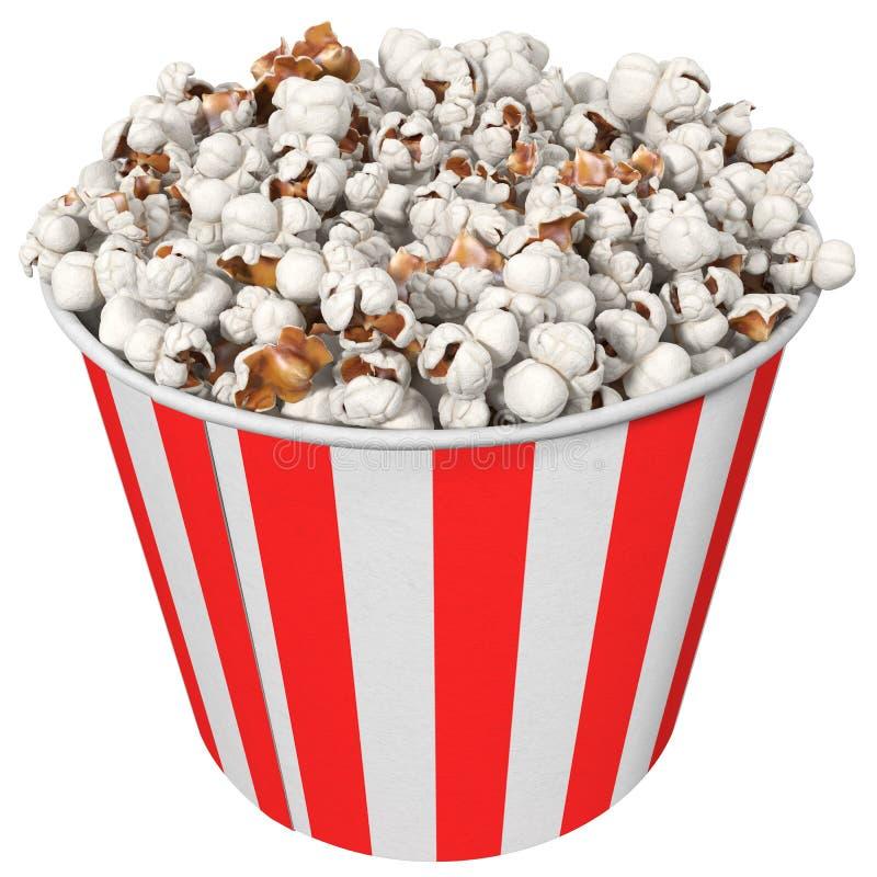 Randigt exponeringsglas med popcorn, illustration 3d royaltyfri illustrationer
