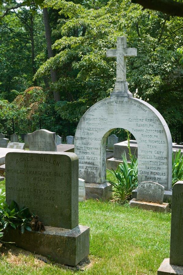 Randolph-Familienfinanzanzeige in privatem Monticello-Friedhof, Charlottesville, Virginia, Haus von Thomas Jefferson lizenzfreie stockfotografie