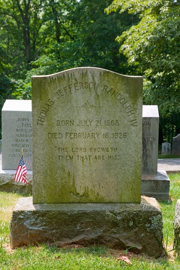 Randolph familjgravsten i den privata Monticello kyrkogården, Charlottesville, Virginia, hem av Thomas Jefferson royaltyfri fotografi