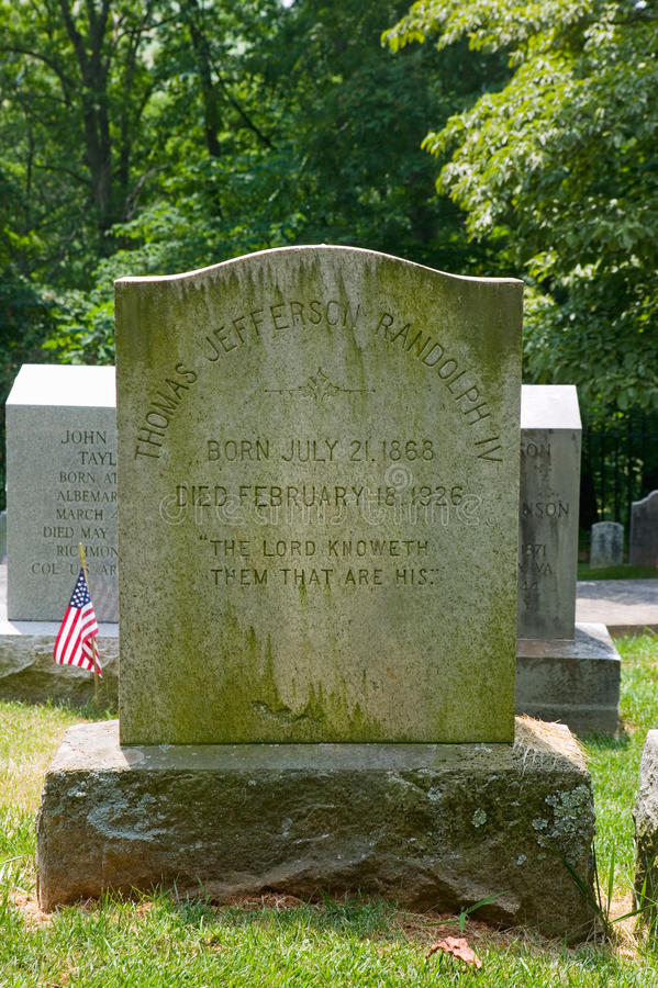 Randolph family tombstone. In private Monticello Graveyard, Charlottesville, Virginia, home of Thomas Jefferson stock images