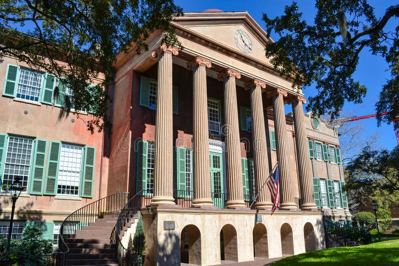 Randolph Hall all'istituto universitario di Charleston in Sc di Carolina del Sud immagine stock libera da diritti