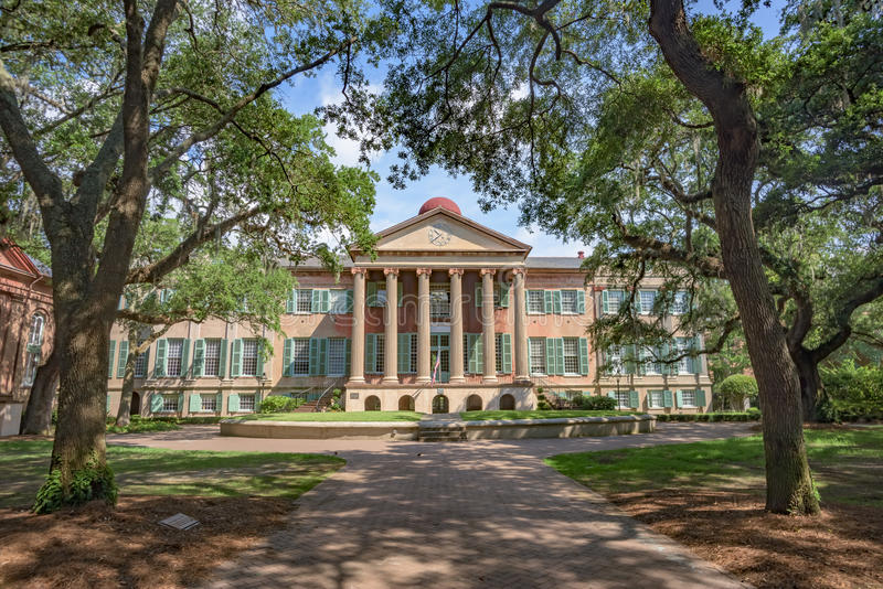 Randolph Hall, College of Charleston, SC. Randolph Hall, the main academic building on the College of Charleston campus stock photography