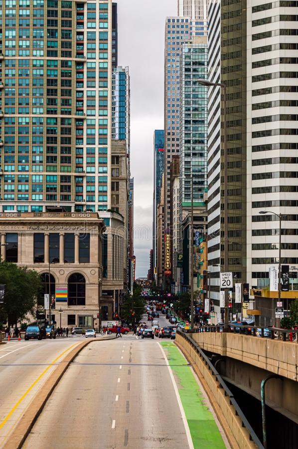 Randolph Street in downtown is a busy corridor to theaters, restaurants and retail stores royalty free stock photos