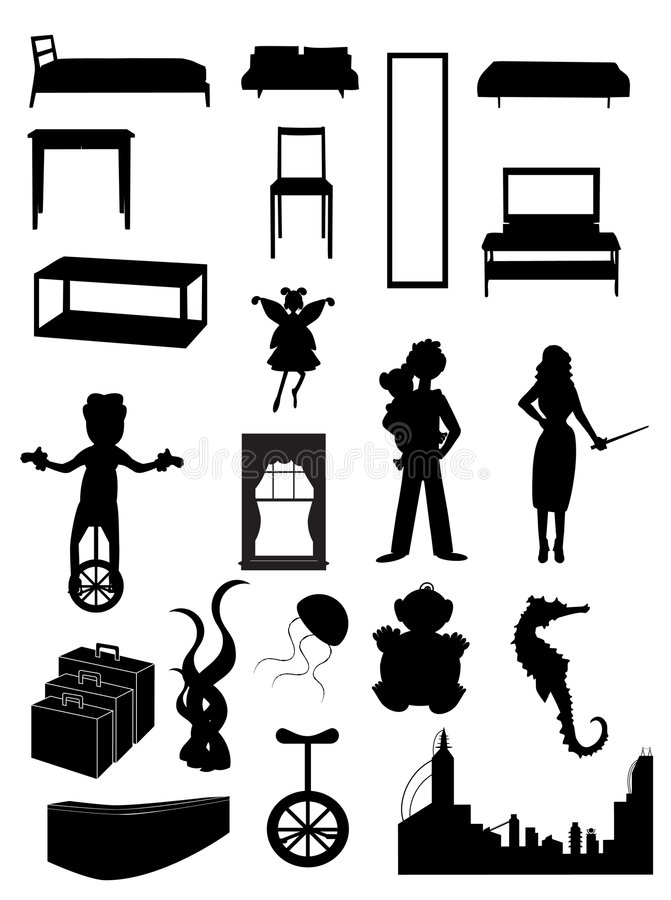 Random batch of silhouettes woman, juggler, fairy, stock illustration