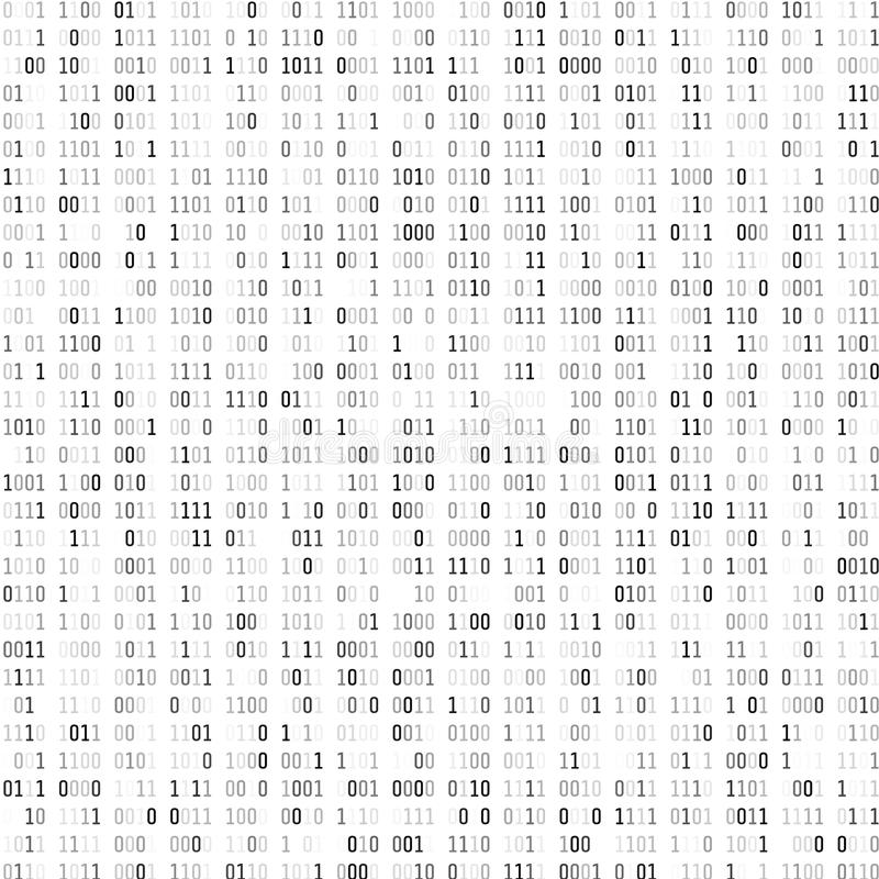 Random binary coding. Technology digital background. Black and white binary code. Vector illustration royalty free illustration