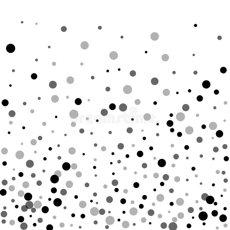 Random black dots. Bottom gradient with random black dots on white background. Vector illustration royalty free illustration