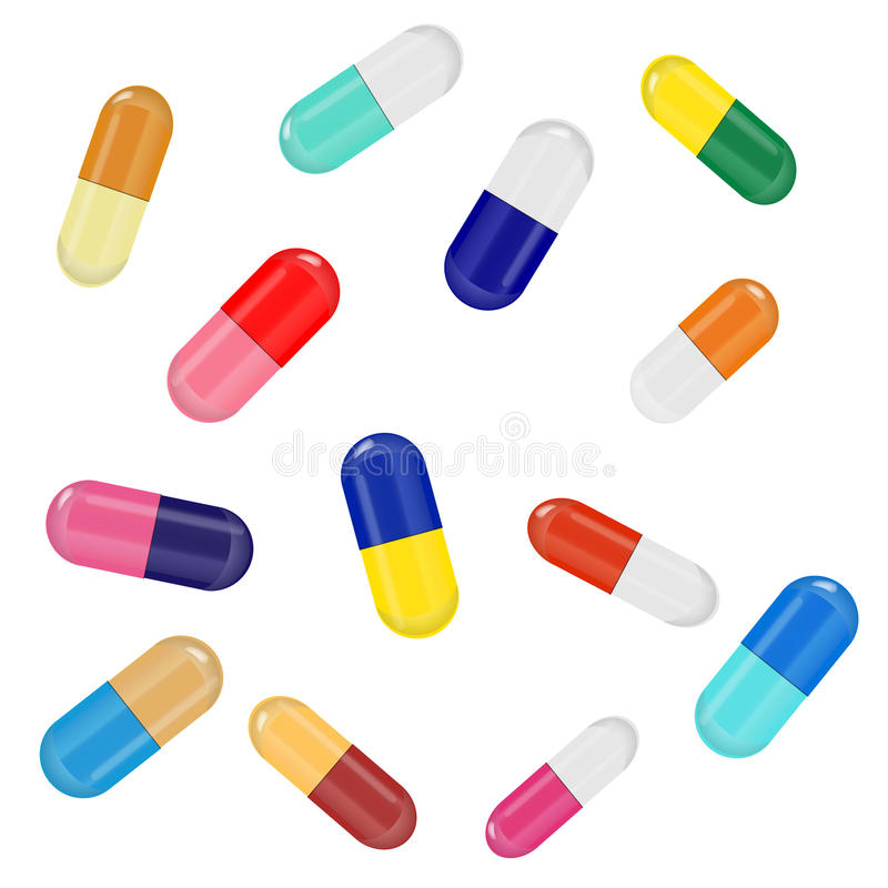 Random Capsules. Vector illustration of thirteen capsules of various colors, sizes and rotations in EPS 10. The capsules have gradient highlights and a 3d stock illustration