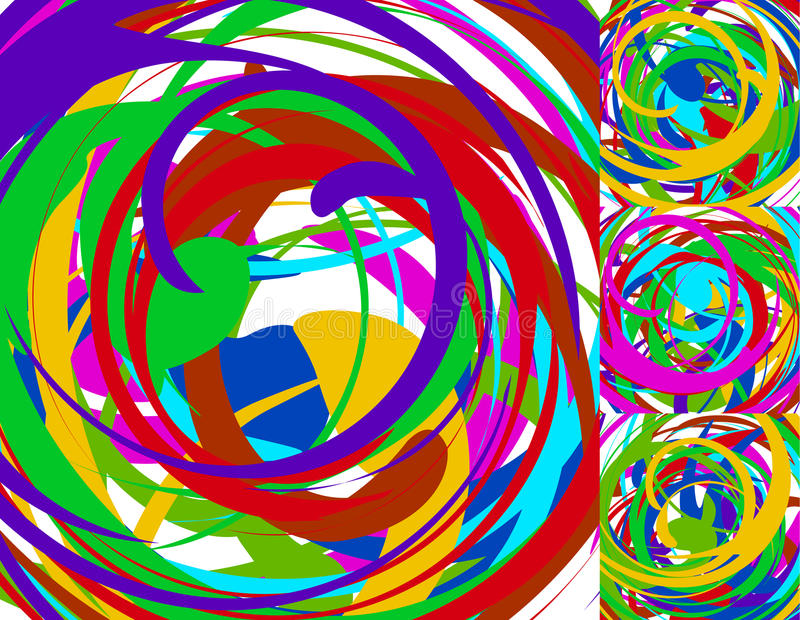 Random chaotic spiral backgrounds / textures. Set of 4 version. Royalty free vector illustration royalty free illustration
