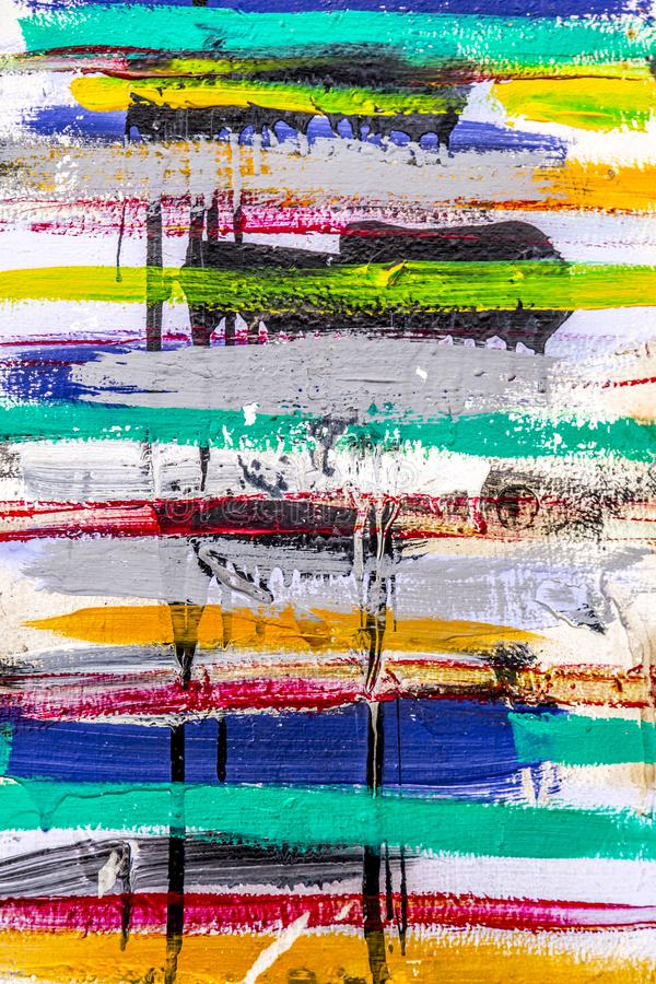 Random color stripes. Brush strokes, urban wall detail background stock illustration