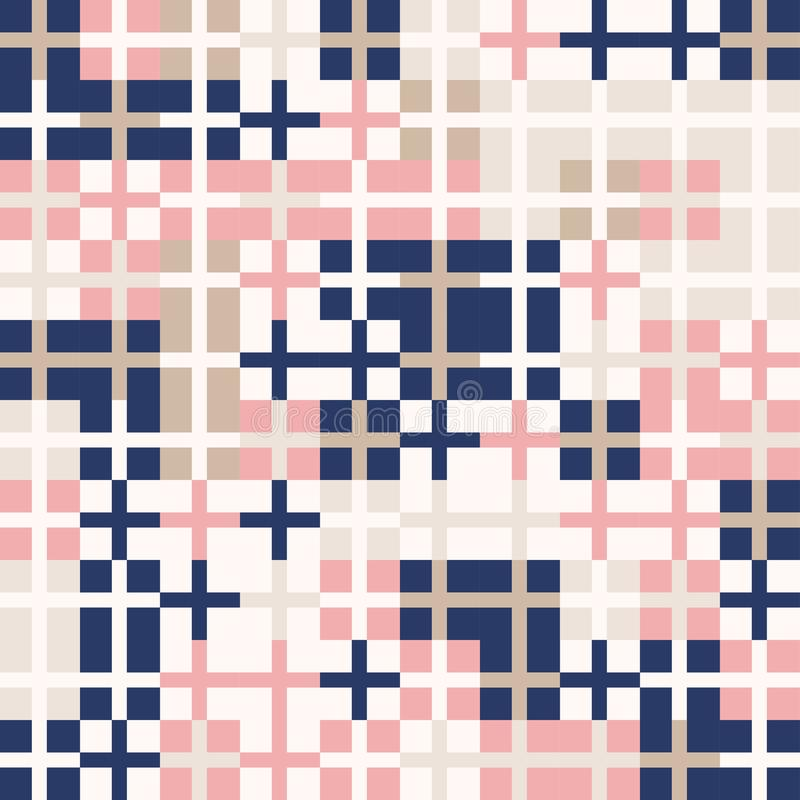 Random colored abstract geometric crossed squares mosaic pattern background royalty free illustration