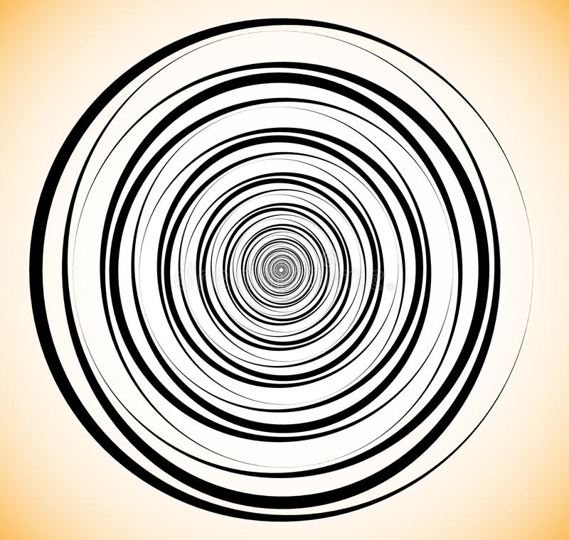 Random concentric circles. Abstract geometric spiral, swirl elem. Ent. - Royalty free vector illustration royalty free illustration