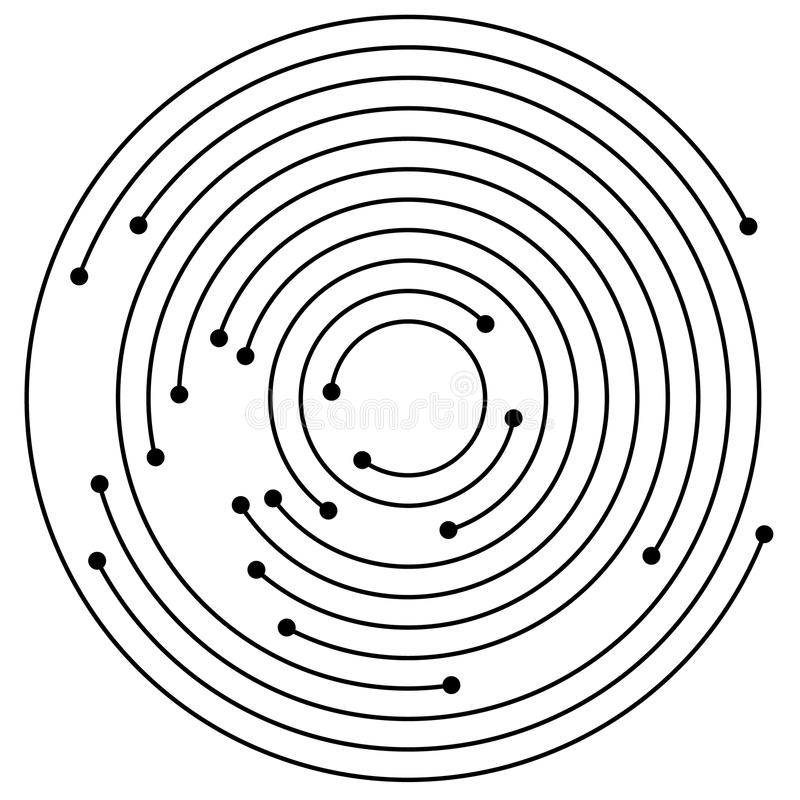Random concentric circles with dots. Circular, spiral design element. vector illustration