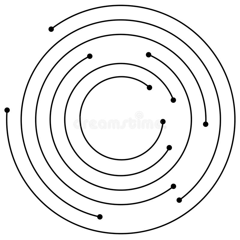 Random concentric circles with dots. Circular, spiral design element. royalty free illustration